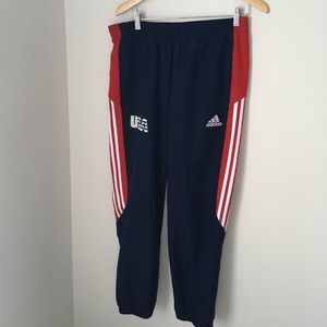 NWT red white and navy blue USA adidas track